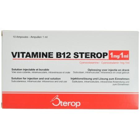 Vitamine B12 Sterop ampoules Sc/im/iv et orales 10 X 1mg/1ml
